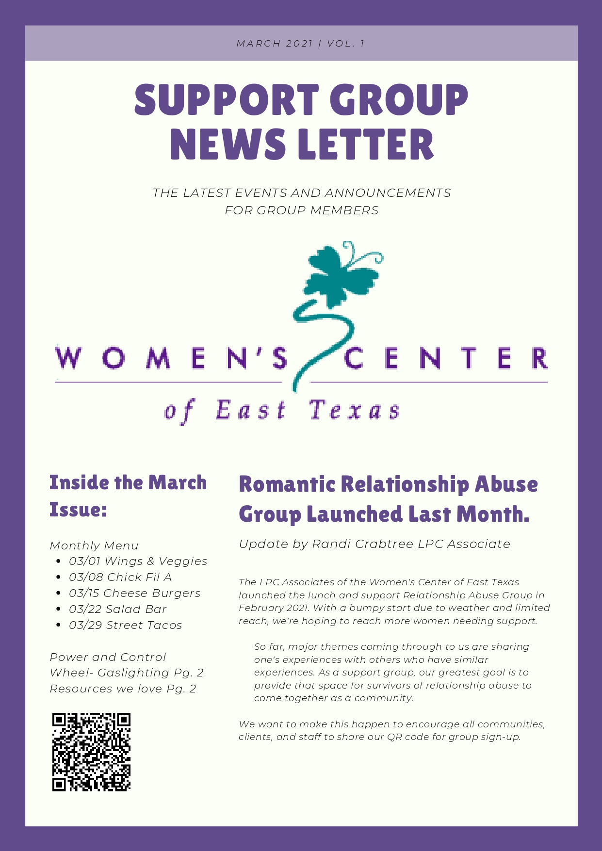 Support Group Newsletter, March 2021